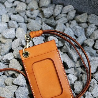 Hand Stitched Light Leather Card Holder/ Badge Holder