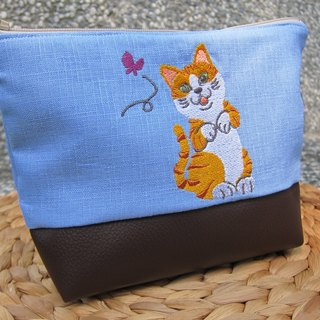 Orange cute kitten embroidery makeup bag package (can be embroidered in English name please note)