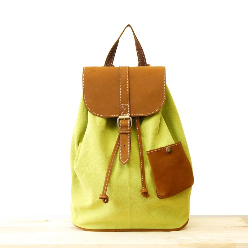 [Happa] cute little backpack pocket after a ride - stone-washed canvas classic (Lime lime yellow) Camping Picnic most convenient