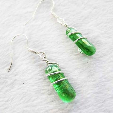婚禮週邊-藝術線纏繞耳環-葡萄綠