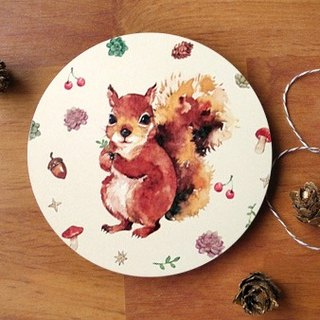 Small animal chubby ceramic coaster / forest squirrel