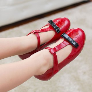 (Zero code special offer) Mary Jane carved patent leather doll shoes - Christmas red