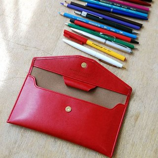 PLEPIC - True Love letter leather leather pencil case - Raspberry red, PPC92122