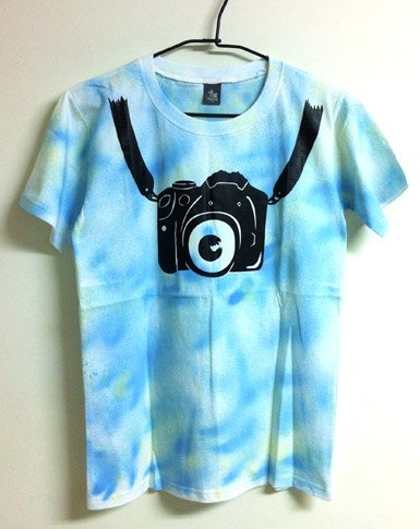Go with a camera - Slim Long hand-painted T