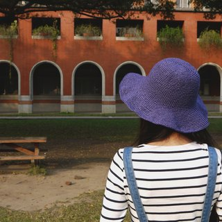 Mama の hand as the cap - Summer Zhisheng Hat - foldable big round hat - blue-violet