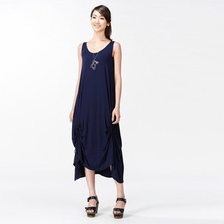 Dress vest hem wrinkle long dress - Blue Blue (with a rope to change the shape)