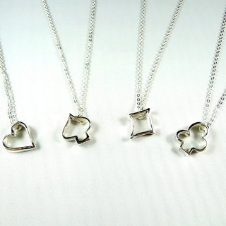 Love plum spades square stars Silver Necklace (♥ ♠ ♦ ♣) / clavicle chain / bracelet / gift / anniversary / Valentine's Day