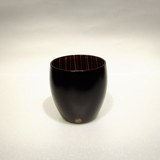 Japanese handmade glass cup black lacquer