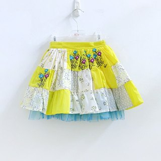 Multi-level embroidered yellow cake tutu