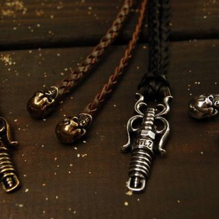 FTW spark plug & Skull Leather Necklace