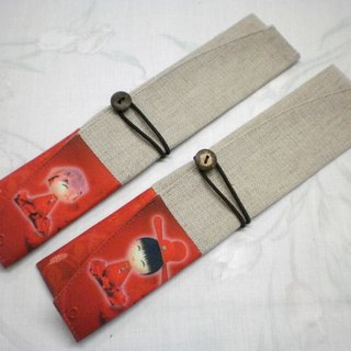 Eco-friendly chopsticks and cutlery set Portable storage bag and chopsticks set ~ Bride and groom (Pair 2) PF-1 007 (A + B)