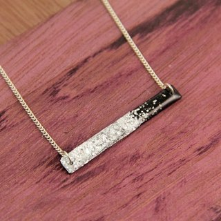 Vinyl Record Silver Foil Long Bar Charm Necklace// Simple // Silver Desert