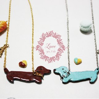 Dachshund enamel necklace kits ---- chocolate / mint green, each one (mail free transport)