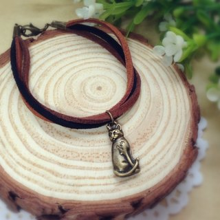 [Cream] memories plush retro Persian cat bronze leather cord bracelet bracelet couple birthday gift handmade exclusive