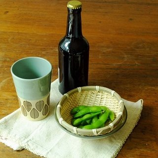 Japan's century-old IZAWA Branche night enjoy the best combination of ceramic high cup with soybeans blue shallow bowl