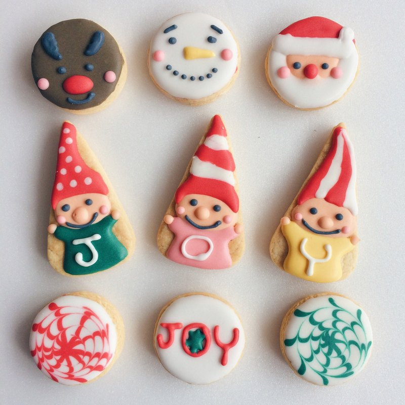 Nuanyang Christmas Sugar Cookie Cute Mini Hand Drawn Shape Biscuit 9 Group