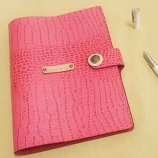 A5 (6 holes) leather notepad - pink collar crocodile pattern (custom printing standard)