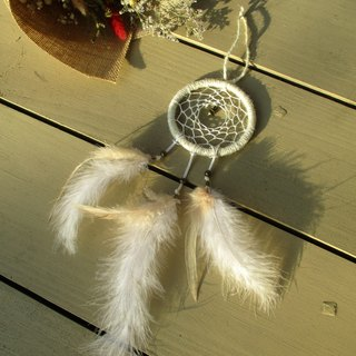 Little kite - dream catcher - rice white 8 cm. Change is feather white. Acceptable and custom