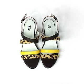 Yellow minimalist low heel sandals