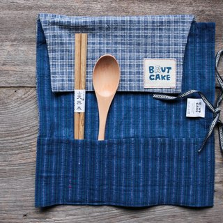 Brut Cake Handmade Textile Scroll Recycling Table Set (Blue & White Check)