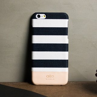 Alto iPhone 6S Plus 真皮手機殼背蓋Denim - 白條紋 White Zebra