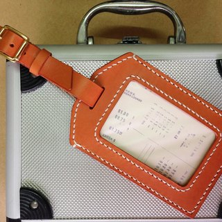 Leather leather - bag tag / orange