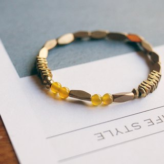 Natural Stone / Brass Bracelet - Honey Clover (wear / yellow / accessories)