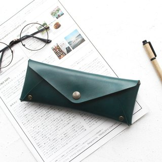 Dark green leather large-capacity pencil case leather pencil case stationery bag glasses case customizable graduation gift