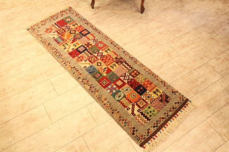 Hand-woven carpet handmade rug Elongated runner type Gurege wool & plant dyeing