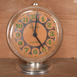 Old bones SLAVA lake green mechanical alarm clock VINTAGE