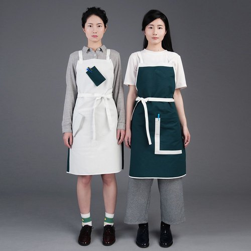 rin city aprons ATOM - green / white color double-sided wear 2 + 3 pockets staff person overalls