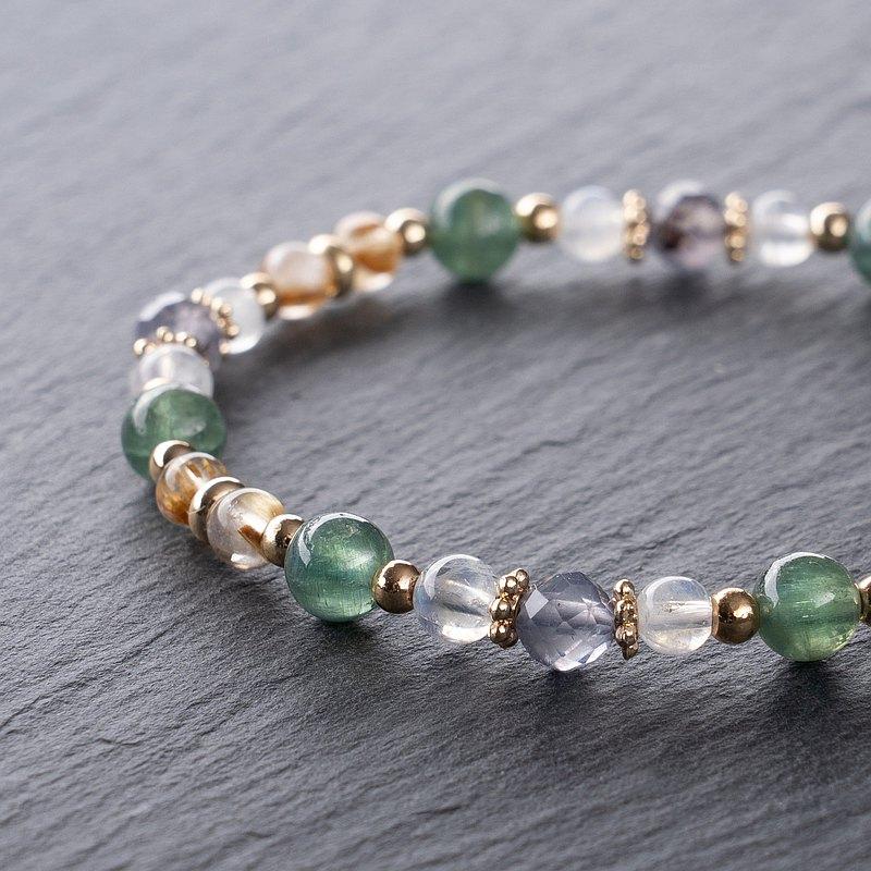 【天然石手鍊】-文青風格- 綠磷灰 月光石 鈦晶 瑾青石