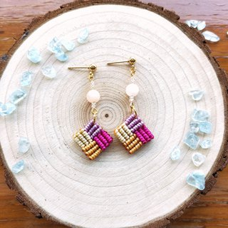E028-Hand-woven square earrings mosaic series autumn harvest pink