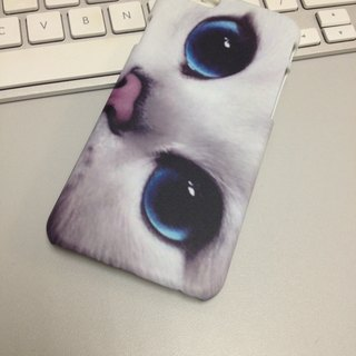 White Cat Blue Eyes 3D Full Wrap Phone Case, available for  iPhone 7, iPhone 7 Plus, iPhone 6s, iPhone 6s Plus, iPhone 5/5s, iPhone 5c, iPhone 4/4s, Samsung Galaxy S7, S7 Edge, S6 Edge Plus, S6, S6 Edge, S5 S4 S3  Samsung Galaxy Note 5, Note 4, Note 3,  N2