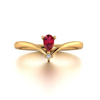 【PurpleMay Jewellery】 18k Yellow Gold Ruby Deco Diamond Ring Band R020