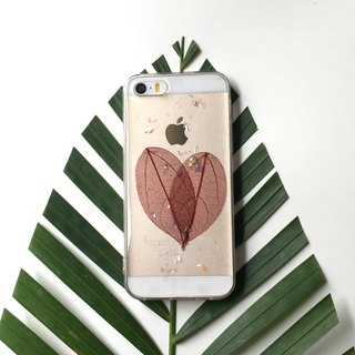 Heart-shaped leaves pressed flower phonecase