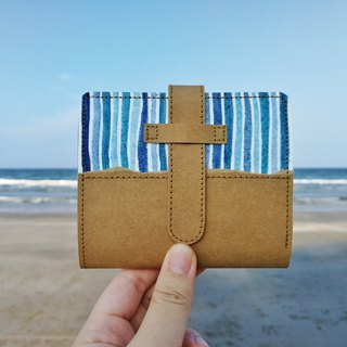 [Sea color] blue stripes hand-painted washed kraft paper clip