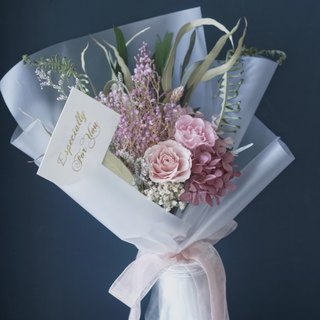 Everlasting flowers, no flowers, dry flowers, hydrangea, roses, retro pink, purple, Valentine's day, graduation bouquet