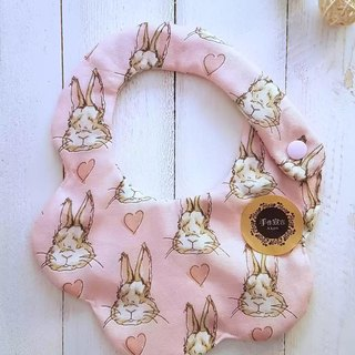 (Pink) cute rabbit eight yarn 100% cotton double sided bib. saliva towel