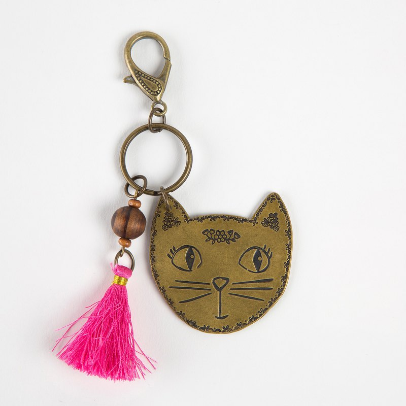 Vintage copper key ring - cat ∣KC149