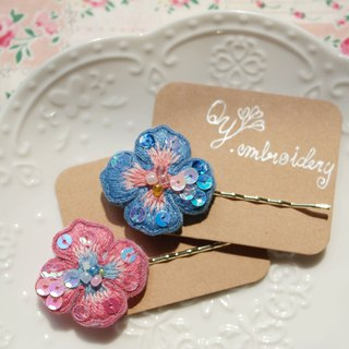 Qy.embroidery handmade embroidery hairpin sea blue and pink summer hair ornaments hairpin