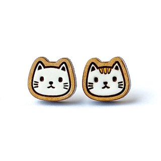 Painted wood earrings-Cat
