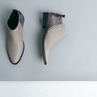 [Show products clear] minimalist diagonal zipper double-core leather low-heeled leather boots gray brown