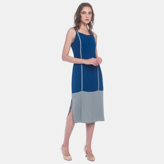 Paneled Piping Cami Dress (Navy)