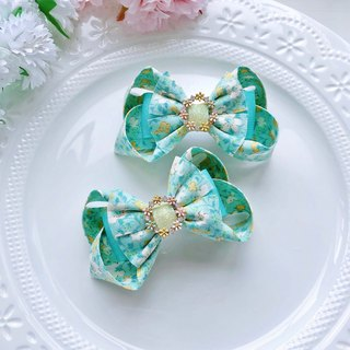 Green fresh flower drill disc floral cloth bow hairpin