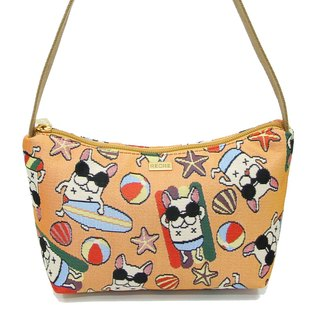 Great Fun Videos bucket method jacquard woven shoulder bag yellow crescent -REORE