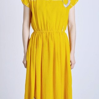 """Vintage dress"" yellow anchor pattern VD166"