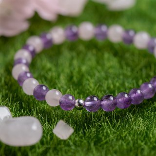 Powder crystal series. Love each other. Two-color crystal 6mm bracelet. C section.