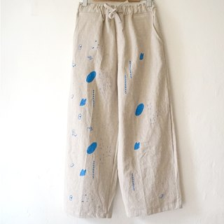✦ One day of the truck driver - the primary color cotton and linen pocket hand length long pants