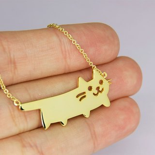 Weiner Cat Necklace in Brass with 14k Gold Plating